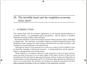 The invisible hand and the weightless economy